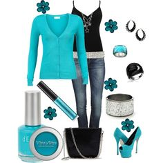Turquoise and Black,