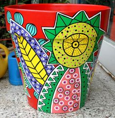 maceta diámetro 48 Clay Pot Projects, Clay Pot Crafts, Painted Plant Pots, Painted Flower Pots, Pottery Pots, Cactus Planta, Pot Jardin, Terracota, Pintura Country