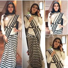 Samantha Prabhu in Poco & Jacky Saree – South India Fashion Saree Draping Styles, Saree Styles, Fancy Blouse Designs, Saree Blouse Designs, Blouse Patterns, Dress Designs, Indian Dresses, Indian Outfits, Black And White Saree