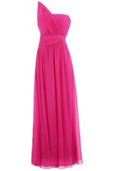 One Shoulder Embellished Maxi Dress in Hot Pink  www.lilyboutique.com