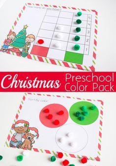 Christmas preschool color pack free christmas themed printable for