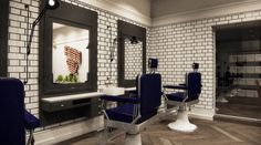 THE BARBER SHOP - A modern interior design marvel. The use of traditional elements mixed with current trends and styles, creates a captivating space.- Mirabello Interiors