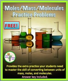 Free Mole Practice Worksheet: Converting between mass, moles, and molecules.