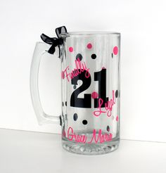 Personalized 21st Birthday Beer Stein / Finally Legal. $12.00, via Etsy.