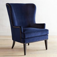 Asher Verse Nailhead Trim Ink Blue Chair Pier One Blue Velvet Accent Chair, Blue Velvet Chairs, Blue Accent Chairs, Blue Chairs, White Chairs, Blue Wingback Chair, Wing Chair, Upholstered Chairs, Furniture Chairs