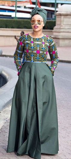 Army green african print dress, ankara dress, african clothing, african print…Can't help just LOVE it African Dresses For Women, African Print Dresses, African Attire, African Wear, African Fashion Dresses, African Women, African Prints, African Style, African Inspired Fashion