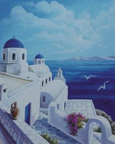 Santorini Blue Canvas Print by Helidon. All canvas prints are professionally printed, assembled, and shipped within 3 - 4 business days and delivered ready-to-hang on your wall. Choose from multiple print sizes, border colors, and canvas materials. Blue Canvas, Canvas Art, Canvas Prints, Art Prints, Greece Painting, Blue Painting, Greece Drawing, Blue Art, Landscape Paintings