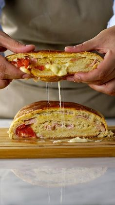 Recipe with video instructions: If you're a fan of warm ham and cheesy goodness, you'll love this. Bread Recipes, Cooking Recipes, Good Food, Yummy Food, I Foods, Food Videos, Easy Meals, Food Porn, Food And Drink
