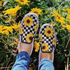 Tags: Sunflower Vans Custom Vans Custom Shoes Floral Vans Custom Sneakers S Vans Slip On Shoes, Custom Vans Shoes, Vans Sneakers, Custom Sneakers, Me Too Shoes, Women's Shoes, Custom Slip On Vans, Bass Shoes, Shoes Style