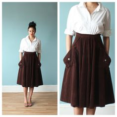 chocolate brown corduroy  midi skirt/ high waisted full skirt/ 1970s/ small - medium