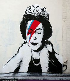 We're loving Banksy's tribute to the Diamond Jubilee - a stencil of the Queen as Ziggy Stardust