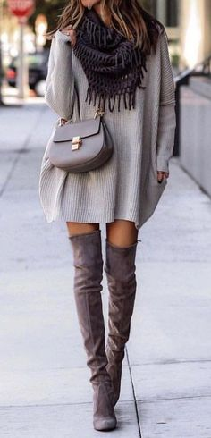 #fall #outfits women's gray sweat shirt, knee high boots and gray leather crossbody bag #falldresses