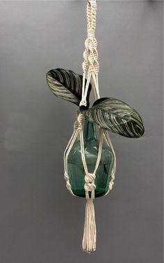 A hand-knotted macramé plant hanger in neutral cotton rope with rose gold coloured metal cord-end finishings.