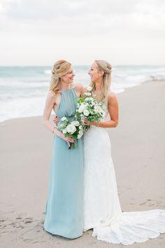 621354c553 Get inspired by this Seafoam + Blue Beach Wedding! Beach Wedding Makeup