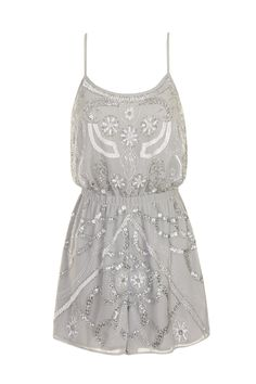 Sequined Grey Playsuit - Dresses - Clothing