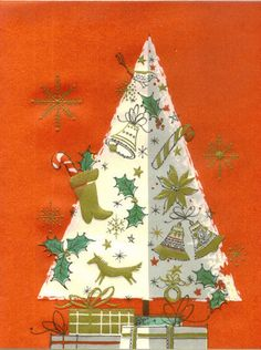 Vintage Christmas card - decorated tree with gifts