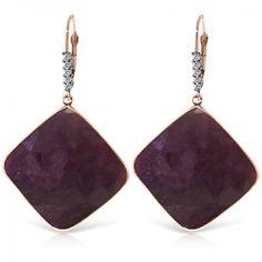 Ruby and Diamond Drop Earrings 40.5ctw in 9ct Rose Gold