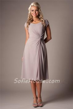 Modest A Line Sweetheart Grey Chiffon Ruched Short Bridesmaid Dress With Sleeves