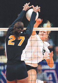 Maja Gustin, right, sacrificed a promising career as a middle blocker to fill a void at left-side hitter for the University of Hawai'i women's volleyball team