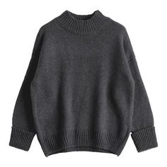 Loose Heathered Mock Neck Sweater Deep Gray ($25) ❤ liked on Polyvore featuring tops, sweaters, gray top, loose tops, heather gray sweater, loose fitting sweaters and grey sweater