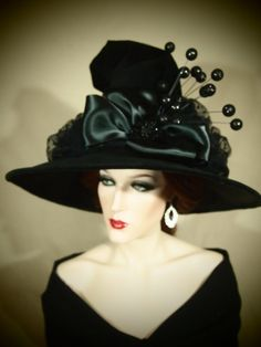 Couture Witch Hat The Dark of Night by EvercrumblyAndWitch on Etsy