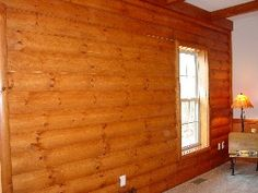 Faux Log Cabin Interior Walls | Log siding, rustic log railings, tongue and groove paneling; all with ...