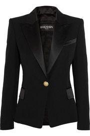 Balmain Satin-trimmed Wool Blazer In Black Kenneth Jay Lane, Black Wool, Black Satin, Balmain, Alexander Mcqueen, Smoking, Suits For Women, Clothes For Women, Classic Tuxedo