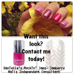 Trying out Jamberry's Nail Lacquer. This combination is Kiss lacquer with White Chevron and a glitter top coat.   Danielle Scheetz -Jamberry Nails Independent Consultant