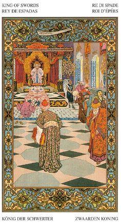 Tarot of the 1001 Nights - King of Swords King Of Swords, All Tarot Cards, Hero's Journey, Iranian Art, Oriental, Magic Carpet, Arabian Nights, Medieval Art, Small Art