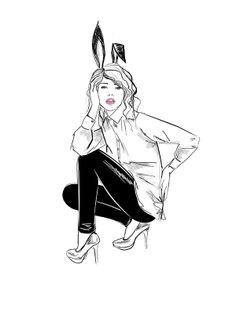 by dasha belova, white shirt, easter bunny, black jeggins, heels, black and white, pink lips, H&M