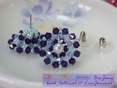 Beaded Crystal Stud Earrings Tutorial by Bee Jang ~ The Beading Gem's Journal  ~ Seed Bead Tutorials