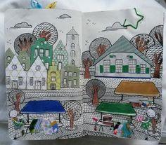 #doodlelandschap op de markt in een #roundrobinboekje @vruijke
