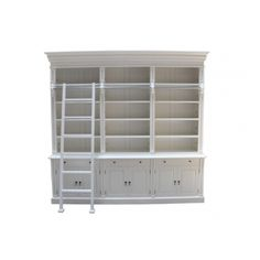 French Provincial White Matt Three Bay Bookcase with Ladder