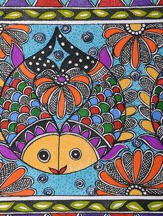 Fish Madhubani Painting x Madhubani Art, Madhubani Painting, Mural Painting, Fabric Painting, Fish Drawings, Art Drawings, Zentangle, Indian Arts And Crafts, Indian Folk Art