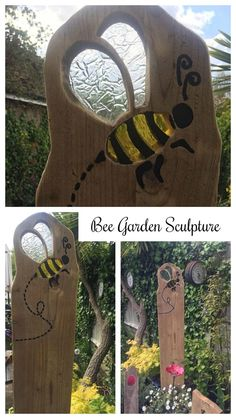 Bee sculpture made using reclaimed wood and coloured glass with added etching for bee trail #ad #Etsy #bee #bees #sculpture #garden