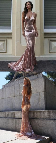 mermaid sparkle prom evening gowns with train, fashion formal backless party gowns, sexy evening dresses. #homecomingdresses