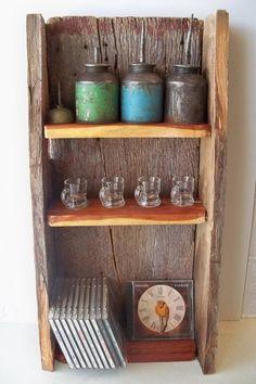 Rustic shelf made from reclaimed cedar and Missouri barn wood  $65 #shelving #storage #display #decor #wood #home