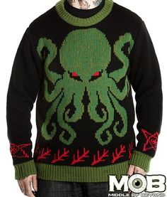 If I had to wear a Christmas sweater, I think this would be it... Cthulhu Lovecraft Knit Sweater