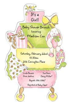 Picture Perfect PICP 21509DC and BABY SHOWER INVITATIONS, CARRIAGE BROWN AND PINK, PICTURE PERFECT   NEW!