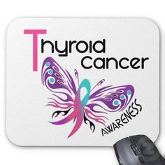 Thyroid Cancer Ribbon Butterflies | Thyroid Cancer BUTTERFLY 3.1 Mouse Pads from Zazzle.com