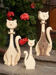 Decoration cats, wooden cats, carpentry Vogler