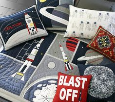 Colton Astronaut Quilted Bedding | Pottery Barn Kids