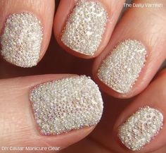 White Caviar Nails---This would be really pretty for the bride on the wedding day, but you would probably only be able to keep it for a few days