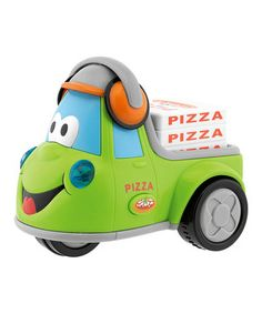 When the reggae music plays, it's eatin' time! This fun pizza delivery truck is a cheerful and imaginative toy that celebrates something everyone loves—pizza!