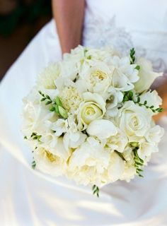 Beautiful Bridal Bouquet with white roses, peony and freesia. just a hint of blush/pink to add dimension/depth