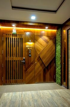 The Sailor House-Mid-Century and Contemporary House Modern Entrance Door, Main Entrance Door Design, Wooden Main Door Design, Home Entrance Decor, Front Door Design, House Entrance, Door Design Interior, Foyer Design, House Design