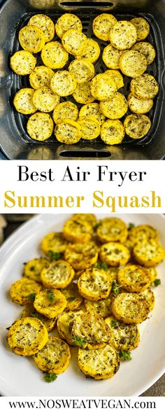 Summer Squash And Zucchini Recipe, Roasted Summer Squash, Summer Squash Recipes, Summer Squash Pasta, Yellow Squash Recipes, Air Fryer Dinner Recipes, Air Fryer Recipes Easy, Fried Squash Recipes, Air Fryer Recipes Squash