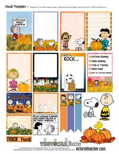 The Great Pumpkin Charlie Brown Planner Printable - Victoria Thatcher