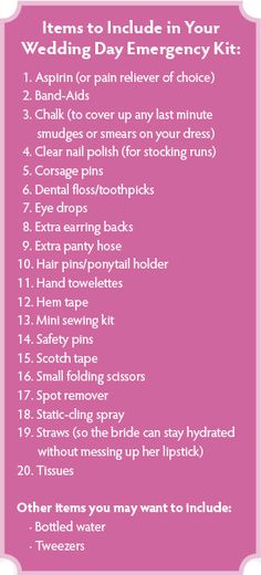 Wedding Day Emergency Kit    *As a wedding photographer, I cannot recommend this enough!! Im going to make thia for my bride when we get married as a pre wedding present or you could, appoint a trusted friend, bridesmaid, etc... to take care of putting this together for ya.