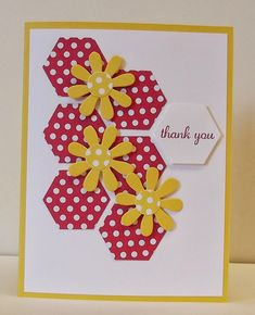 I have been looking forward to Spring for weeks now, we get a taste with a warm sunshine filled day and then wake up the next day to f. Paper Cards, Diy Cards, Your Cards, Hand Made Greeting Cards, Making Greeting Cards, Thank U Cards, Hexagon Cards, Handmade Birthday Cards, Card Sketches